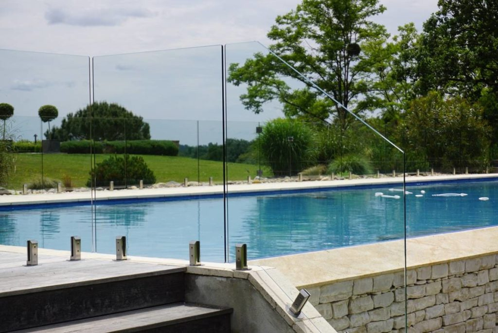 Glass wall for pool protection pool fencing